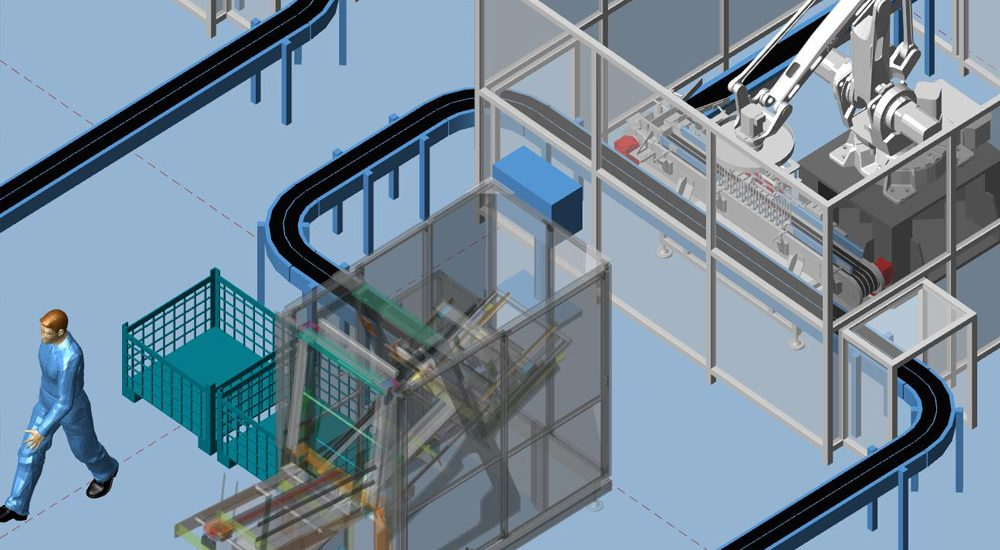 3D factory layout with conveyors and models