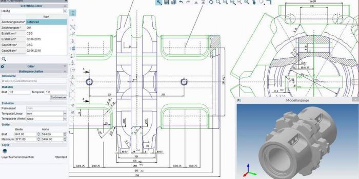 M4 DRAFTING has a full 2D CAD function scope with the possibility to form 3D models from 2D-drawings.