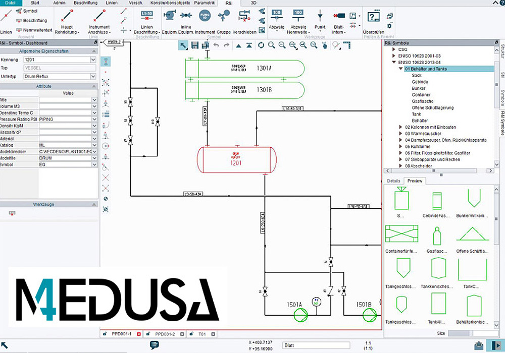 P&ID provides symbol catalogs in support of the EN ISO, ANSI and ISA standards