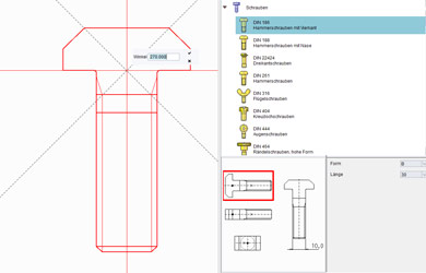 integrierte Normteilbibliothek mit vielen CAD-Symbolen