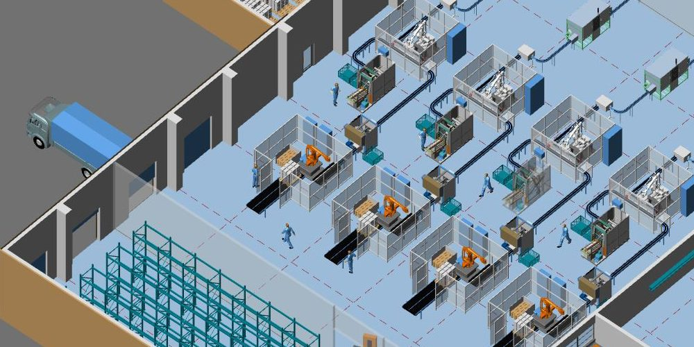 Integrated MPDS4 2D/3D factory design: 2D floor plan and 3D layout