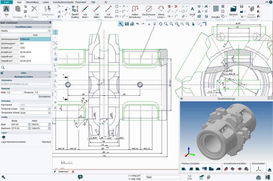 MEDUSA4 besitzt einen vollen 2D CAD Funktionsumfang mit der Möglichkeit 3D-Modelle aus 2D-Zeichnungen abzuleiten.