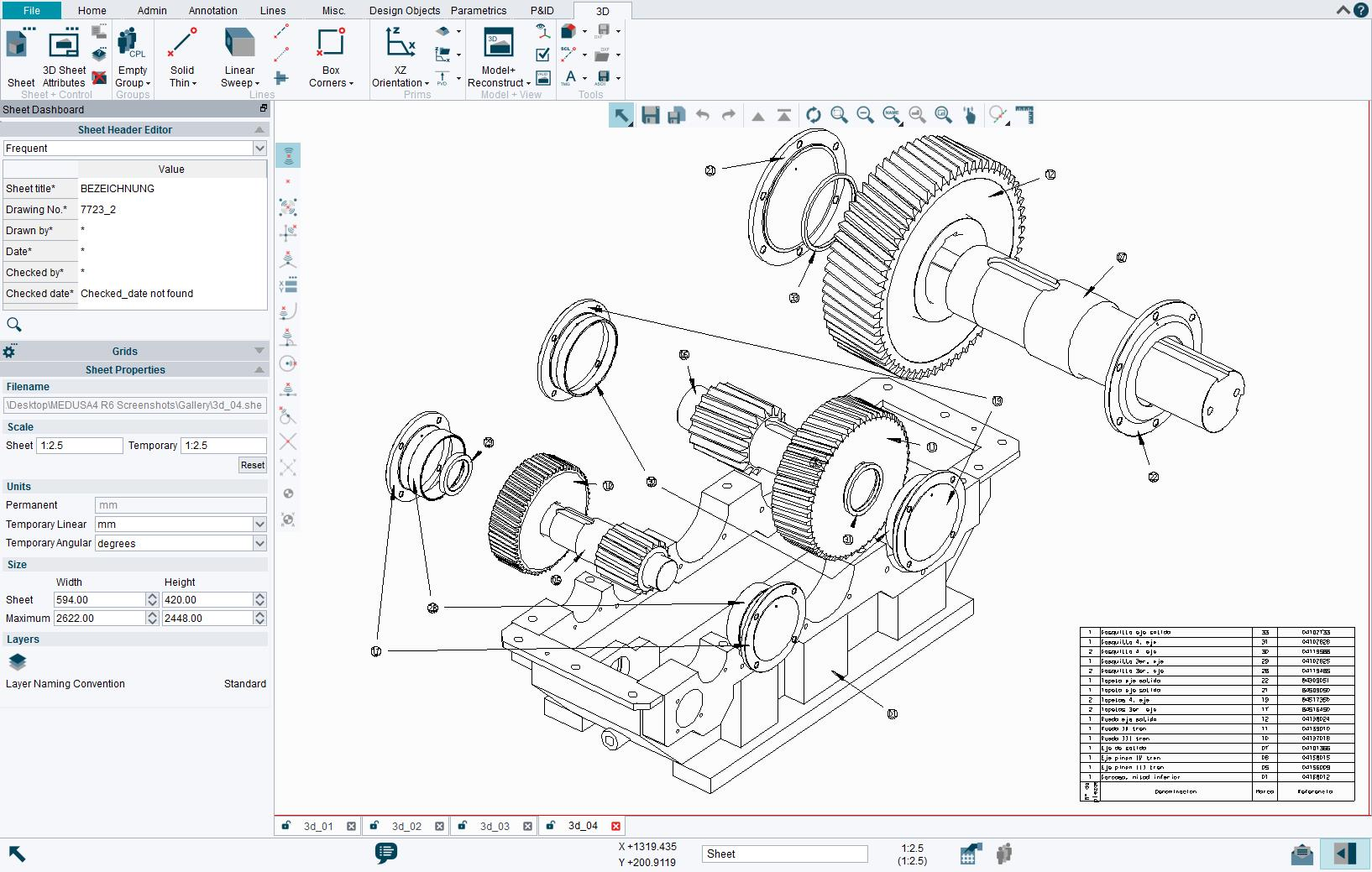 The 3D modelling tool offers an intuitive approach using standard 2D tools to define 3D models.